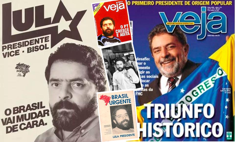 Campanhas em 1989 e 2002 do ex-presidente Lula! A notável diferença ao longo do tempo ficou registrada em diversas capas de revistas Bolsonaro precisaria fazer o mesmo