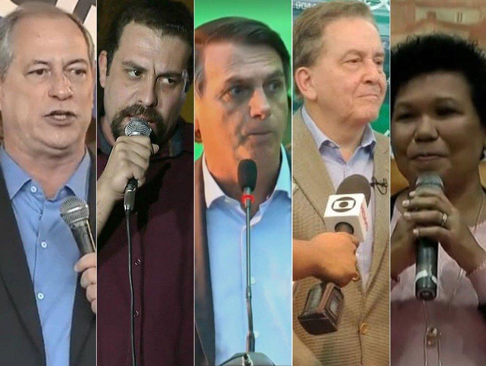 Candidatos à Presidência da República definidos em convenção para as eleições de 2018 (Foto: Reprodução)