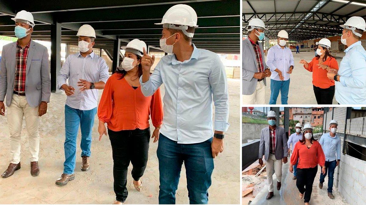 Kátia Oliveira visita obras de requalificação do Mercado Municipal de Simões Filho